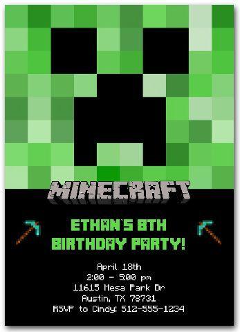 Minecraft Invitation Custom Minecraft Invitations Minecraft