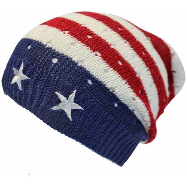 Red White Blue American Flag Stars Stripes Beanie Cap 16 Liked On Polyvore Featuring Accessories Hats Red Beanie Hat Blue Beanie Hat Striped Beanies