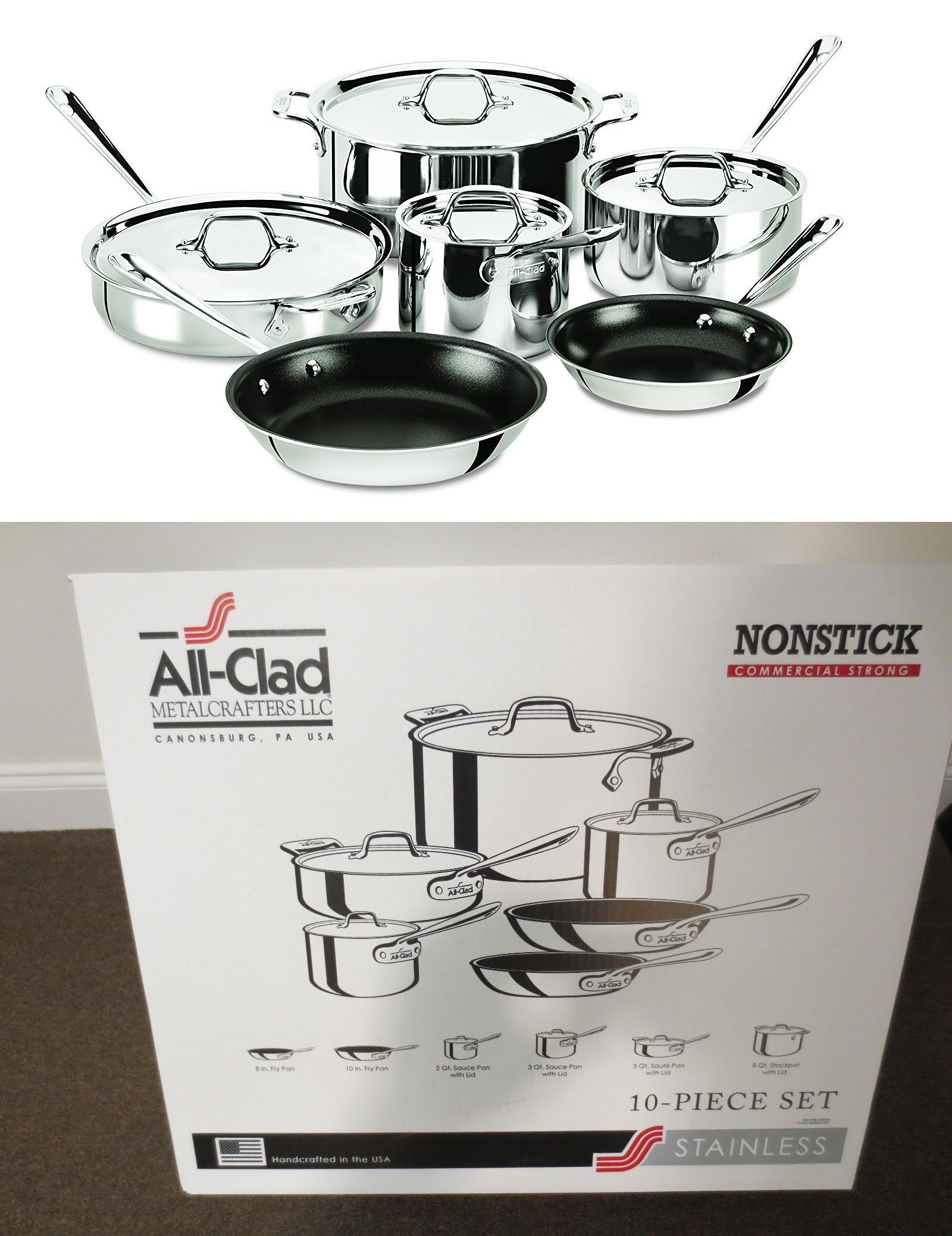 Cookware 20628: All-Clad 401488 Nsr2-R 10Pc Nonstick Stainless ...