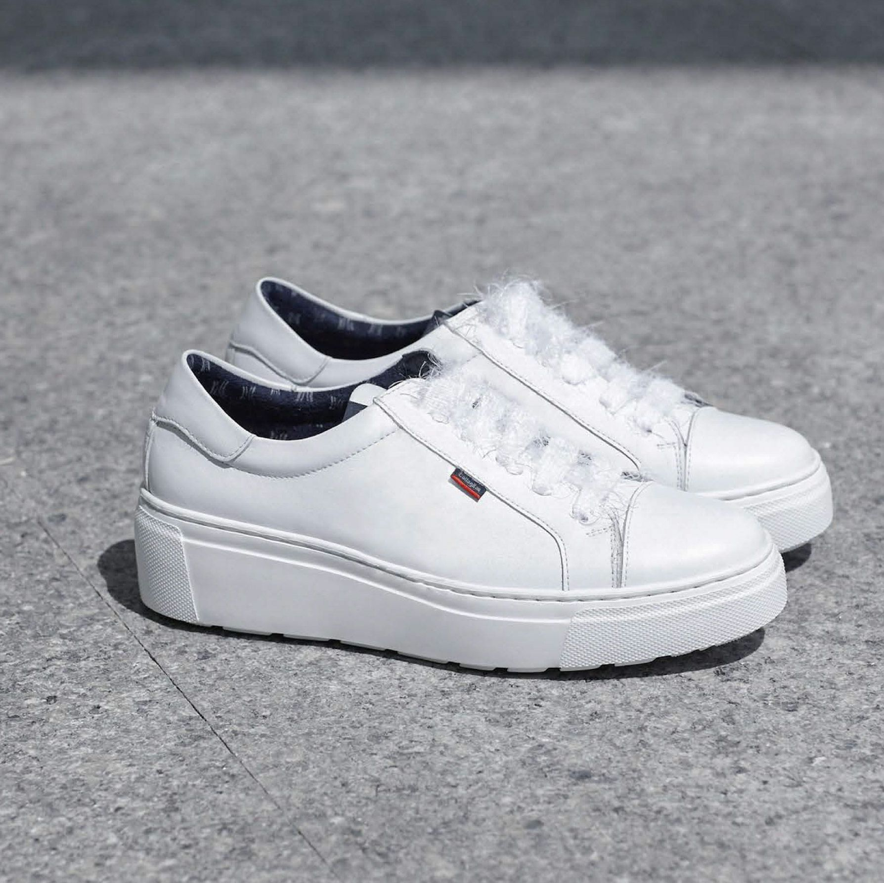 Calais | All white sneakers, Flatform sneakers, White sneaker