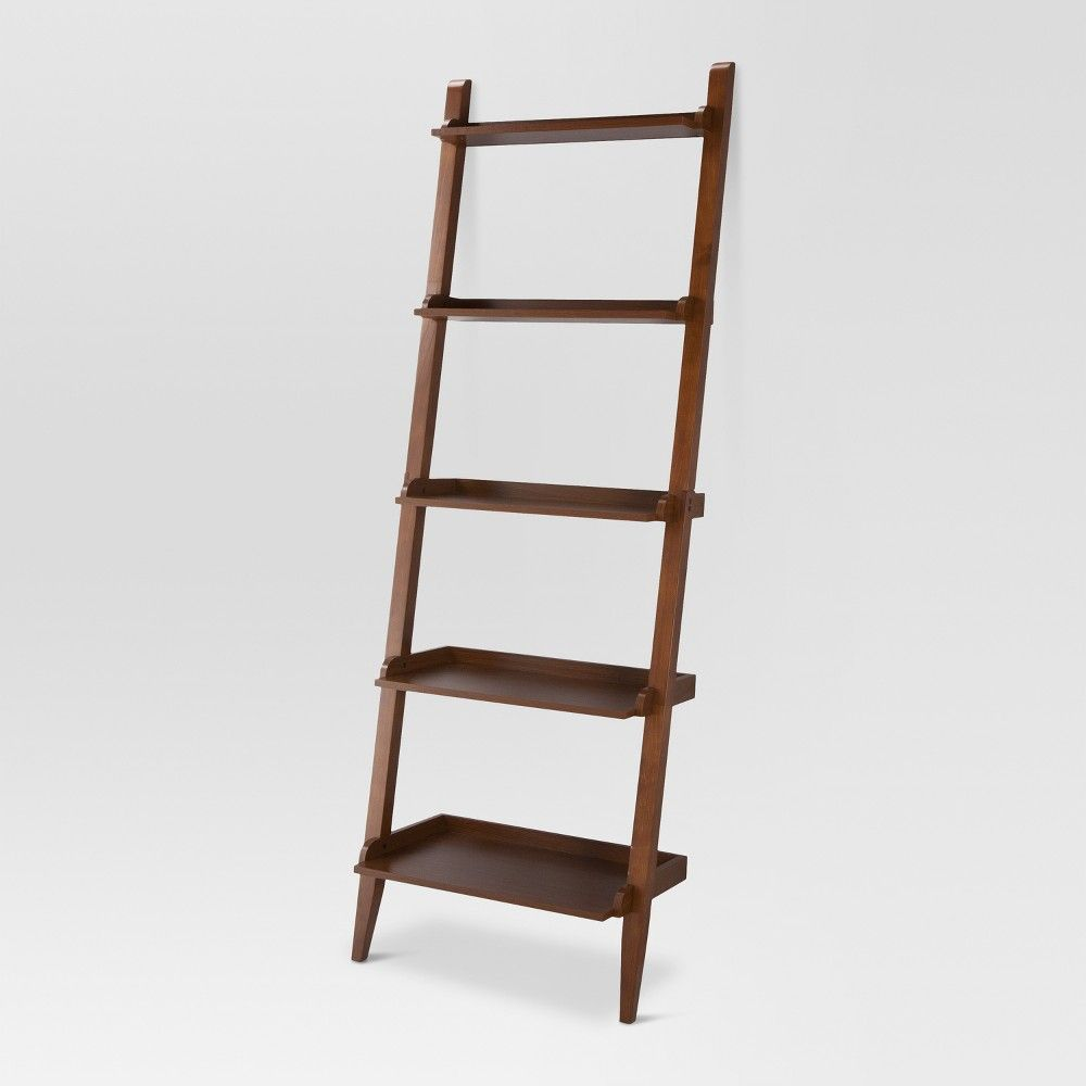"72"" Carson Leaning Bookcase Midtone - Threshold™"