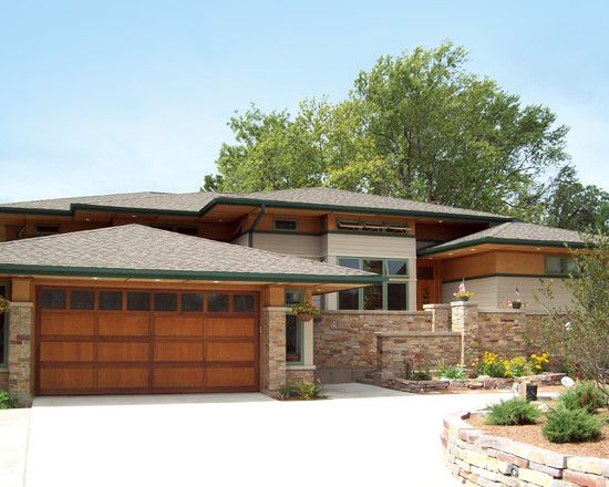 Exterior charming wooden garage door contempo prairie style exterior mission arts and craft - Wood and stone house plans a charming symbiosis ...