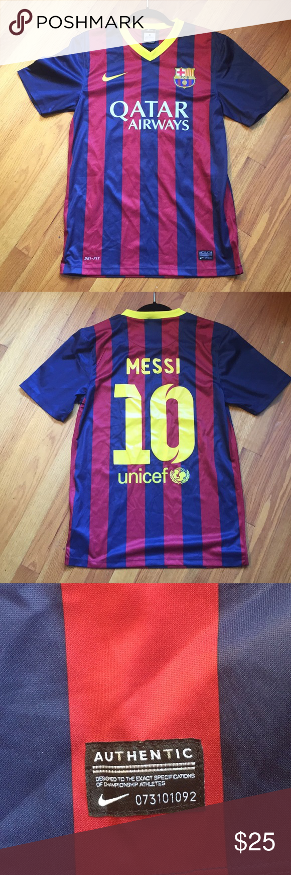 5109b0b5d Lionel Messi FC Barcelona Soccer Jersey Nike Smoke free and pet free home.  Pit to