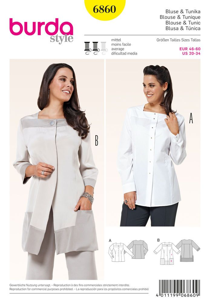 versatile blouse jackets which loosely wrap around the figures contours. striking details: banded square neck and shoulder yoke, buttons (a), and bands and pockets from contrast color and concealed fasteners (b).