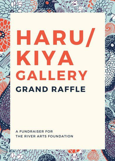 Blue Beige Illustration Art Gallery Raffle Flyer  Soc
