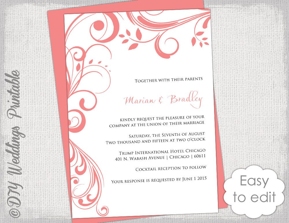 Coral Wedding invitation template Scroll by diyweddingsprintable - invitation download template