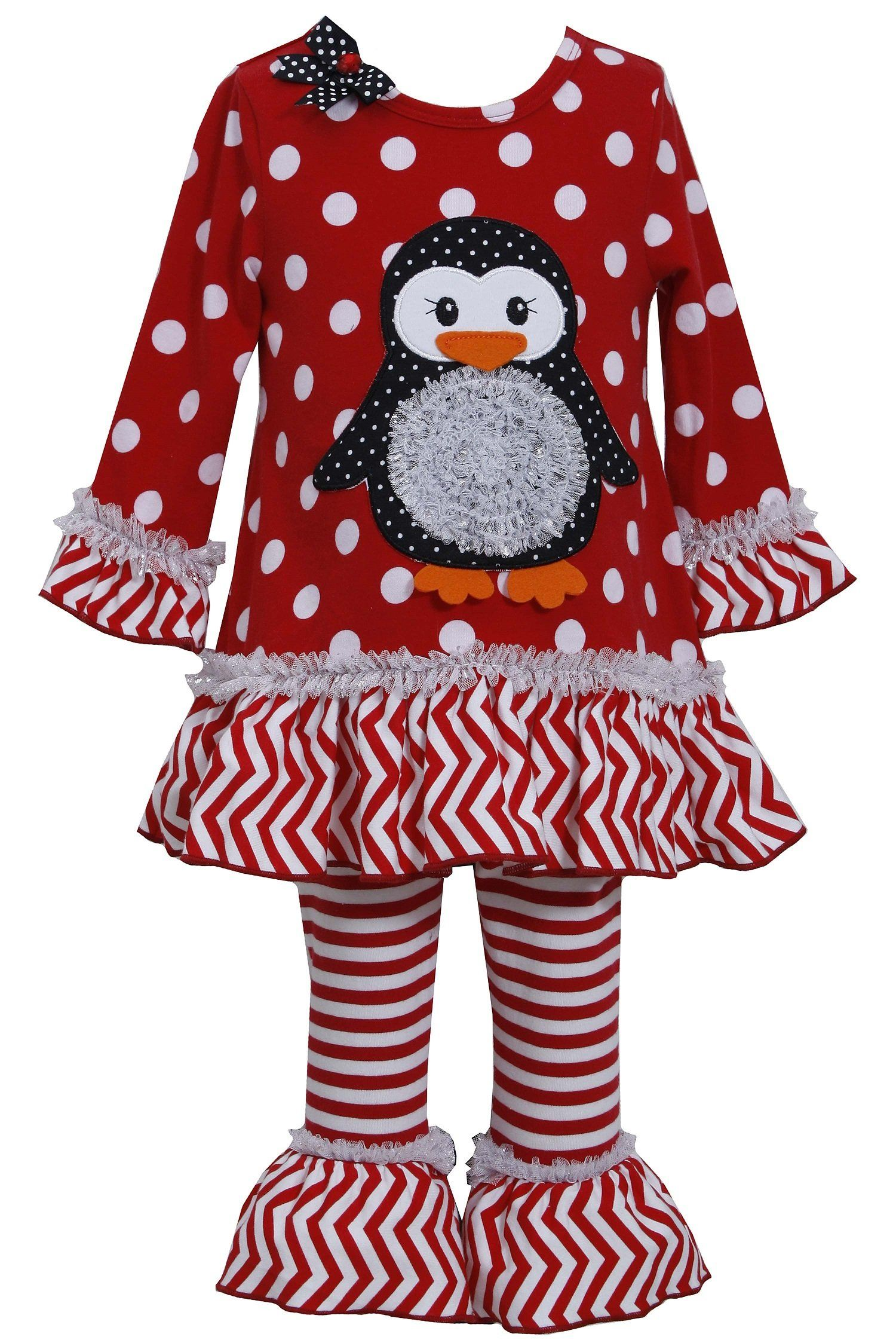 4e4baf173f88 Bonnie Jean Girls 2T - 6X Red Christmas Penguin Dress Legging Outfit.  Beautiful 2-