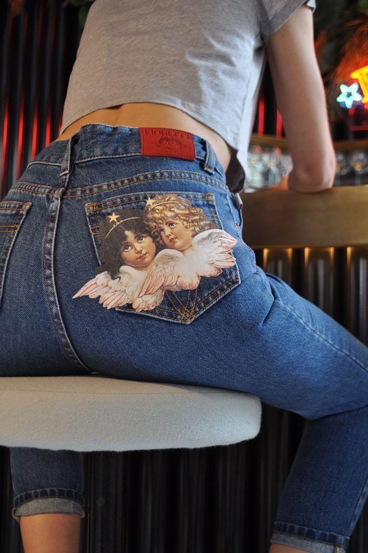 fiorucci angel patch jeans  e96220d315891