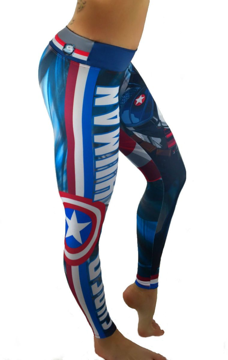 Captain America Leggings S2 Activewear Captain America Leggings Superhero Leggings Athletic Outfits