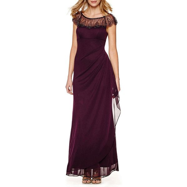 DJ Jaz Cap-Sleeve Beaded Formal Gown ($90) ❤ liked on Polyvore ...