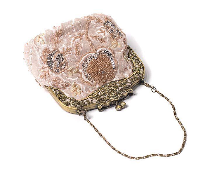 a77ea3931a166b ILISHOP Women's Antique Beaded Party Clutch Vintage Rose Purse Evening  Handbag (Black): Handbags: Amazon.com