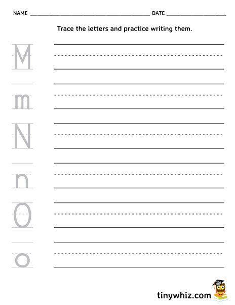 free printable worksheet writing letters m n o. Black Bedroom Furniture Sets. Home Design Ideas