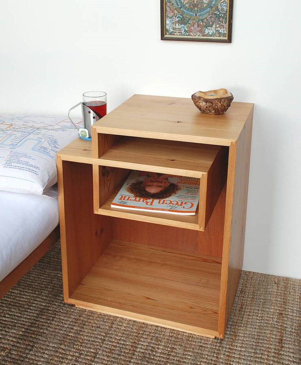 Furniture Brown Laminte Wood Unique Bedside Tables Feat Three