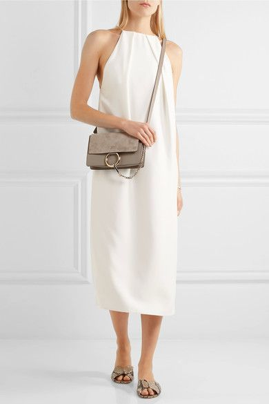 CHLOÉ Faye small chic leather and suede shoulder bag  a7ad243542ff