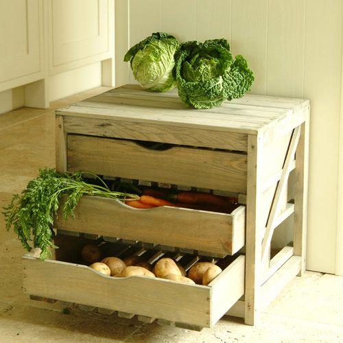 Rangement Fruits Et Légumes: Rangement De Cuisine Fruits Et Légumes En épicéa 3 Tiroirs