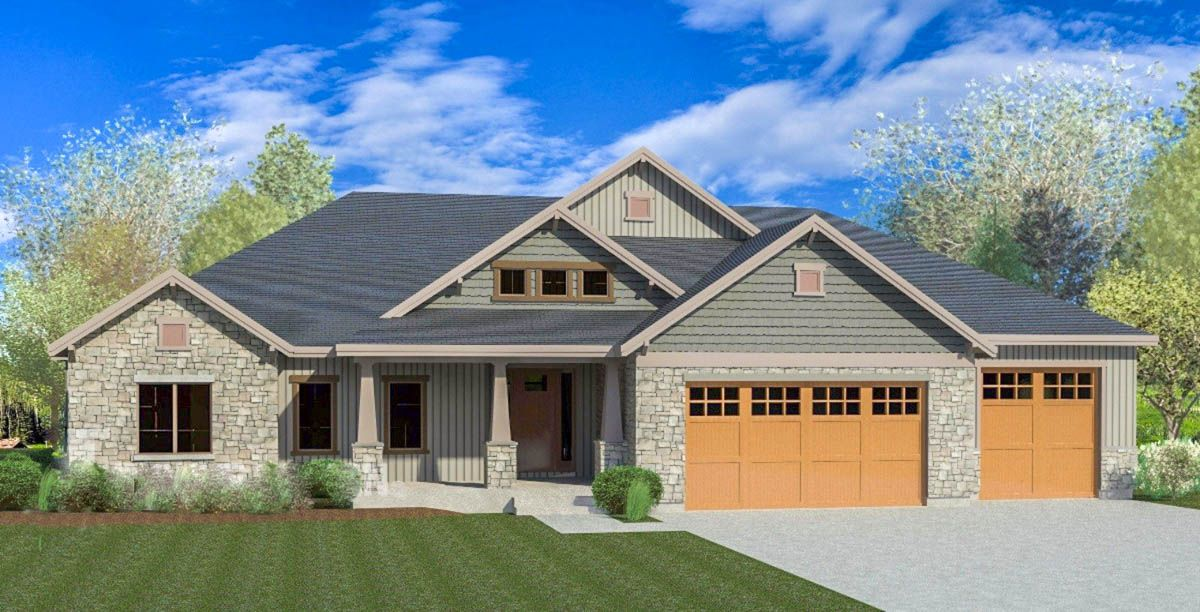 A Wide Open Floor Plan Lets Everyone Enjoy The Corner Fireplace In The Two Story Great Room Of T Craftsman House Plans Craftsman Style House Plans House Plans