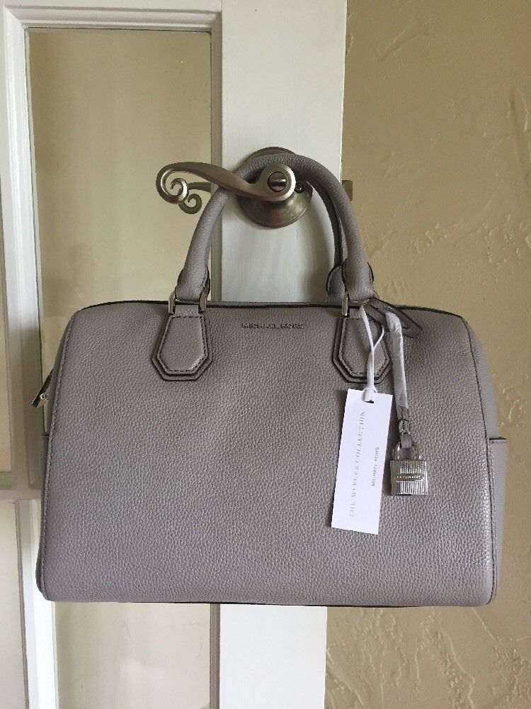 07ea789d1b5 MICHAEL Michael Kors Mercer Medium Duffel Pearl Grey Leather  MichaelKors   Satchel