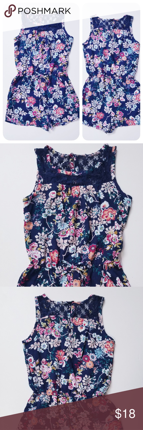 e5b145938aab Paper doll navy girls floral romper New without tag Navy floral girls romper  100% polyester