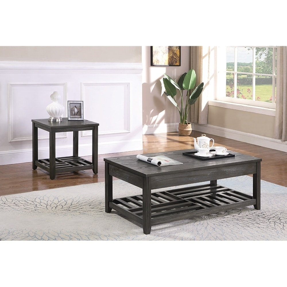 Carbon loft soule grey 1shelf rectangular end table gray