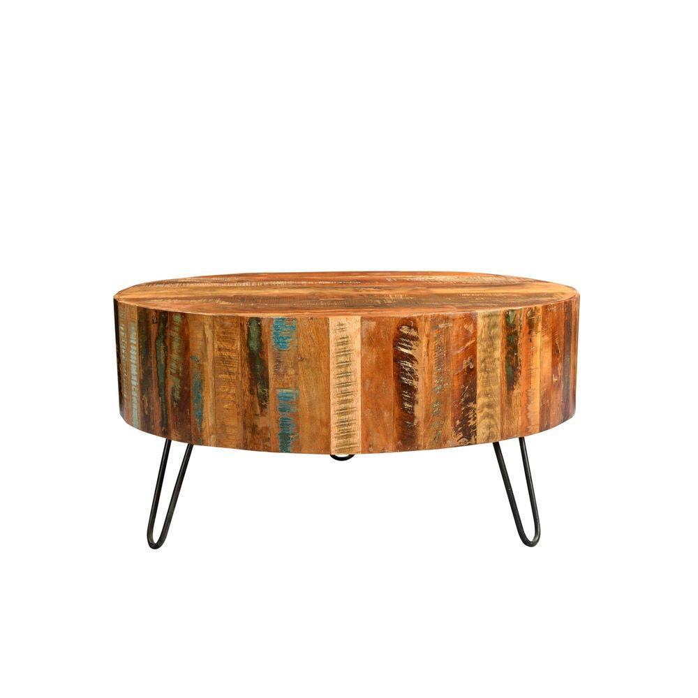 Wanderloot Tulsa Round Reclaimed Wood Hairpin Legs Coffee Table - Wanderloot Tulsa Round Reclaimed Wood Hairpin Legs Coffee Table By