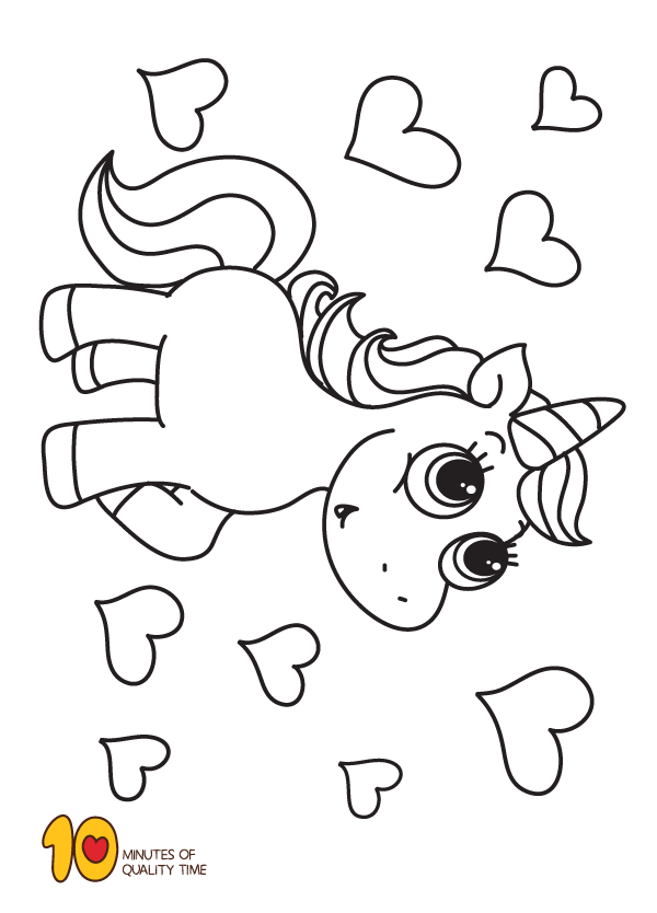 Unicorn And Hearts Coloring Page Heart Coloring Pages Unicorn Coloring Pages Cute Coloring Pages
