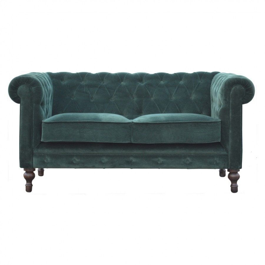 Luxurious Velvet 2 Seater Chesterfield Sofa Deep Button Tufts Piping And Sheltering Arms Hand Turned Feet With Images Chesterfield Sofa Minimalist Sofa Sofa