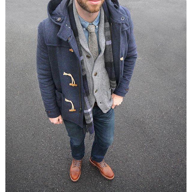 Duffle Coat - Cardigan - Scarf - Shirt - Chambray Denim - Boots ...