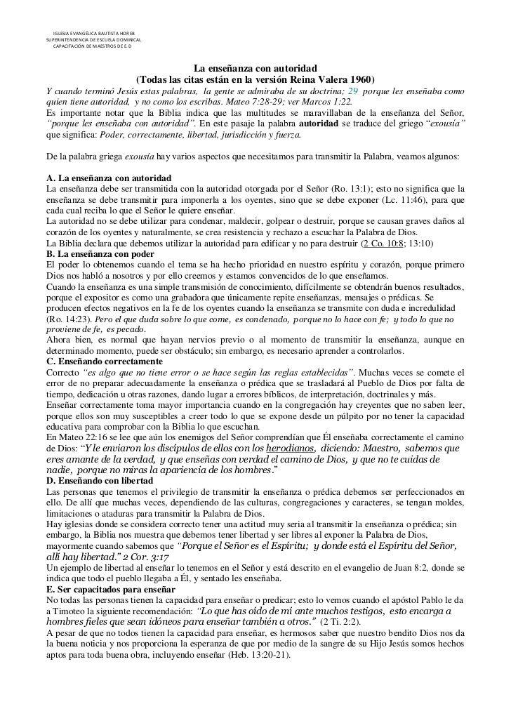 IGLESIA EVANGÉLICA BAUTISTA HOREBSUPERINTENDENCIA DE ESCUELA DOMINICAL   CAPACITACIÓN DE MAESTROS DE E.D                  ...