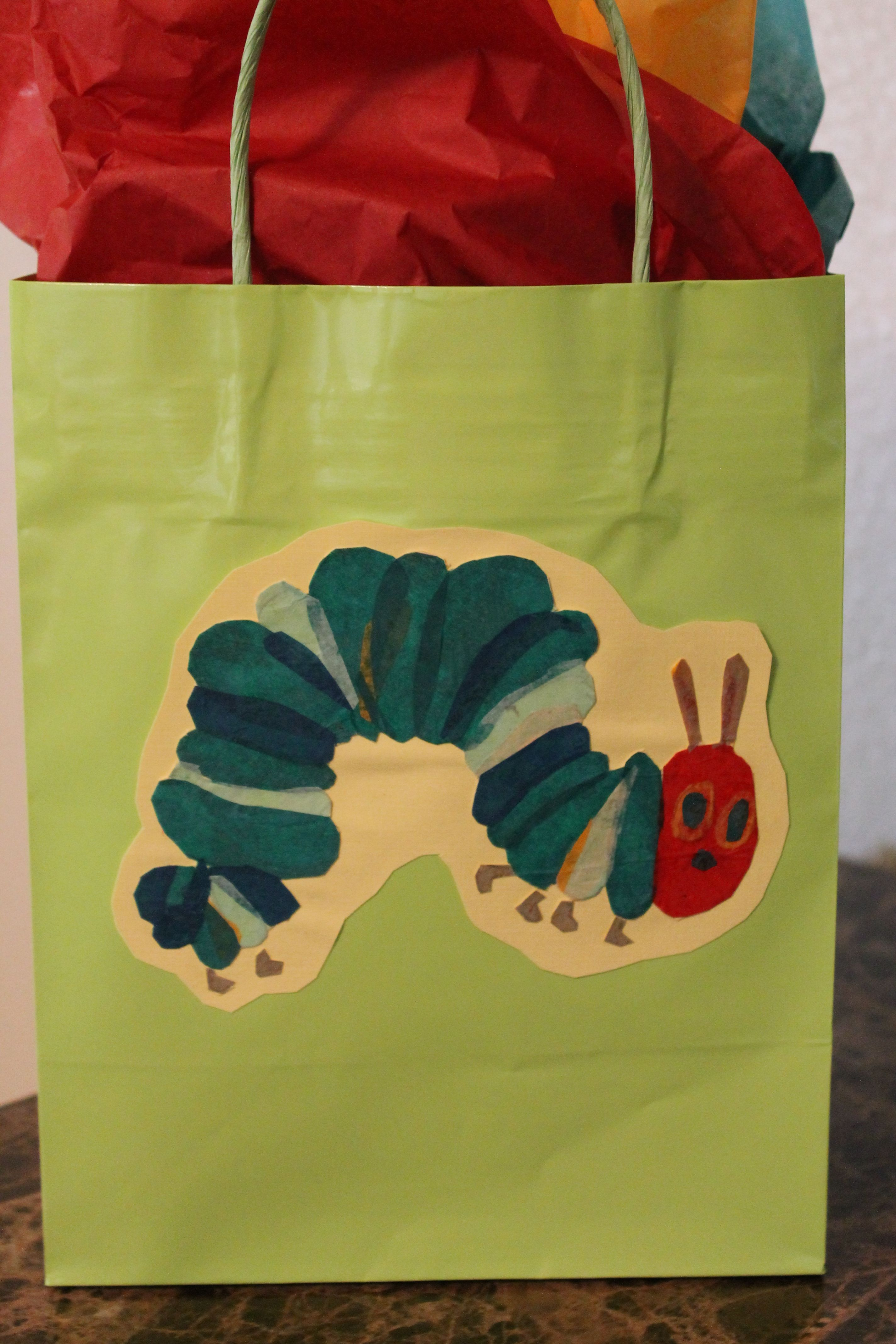 Very Hungry Caterpillar Gift Bag For Baby Shower Gift Tissue Paper And Glue Gift Tissue Paper Baby Shower Gifts Baby Shower