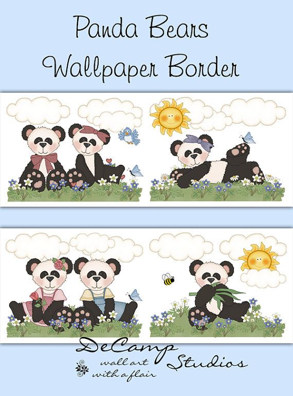 Panda Bear Wallpaper Border Wall Decals For Baby Or Boy Nursery Children S Bedroom Decor Decampstudios