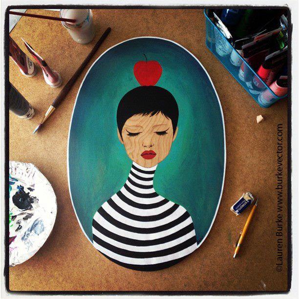 """Antoinette"" 14""x21"" Acrylic painting on Wood. Lauren Burke"