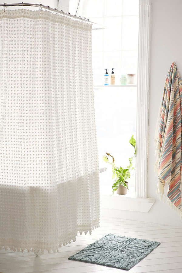 Plum & Bow Pompom Dot Shower Curtain | Upstairs bathrooms, Guest ...