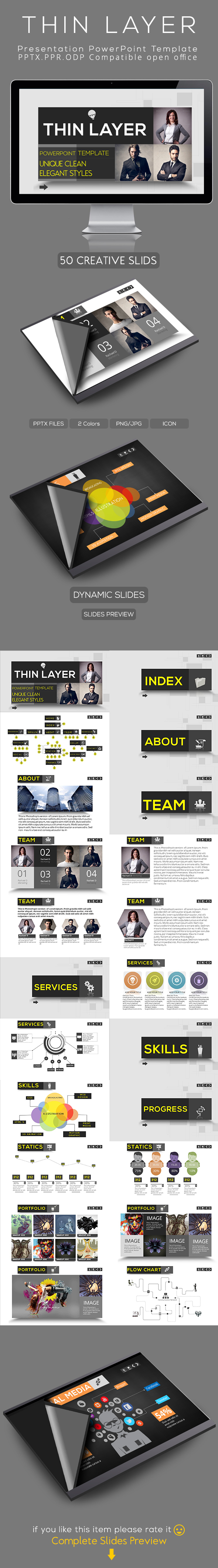 thin layer powerpoint presentation template by rao tariq via