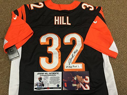 35df3aafe ... where to buy jeremy hill signed autographed cincinnati bengals  authentic nike jersey stay turnt inscribed exclusive