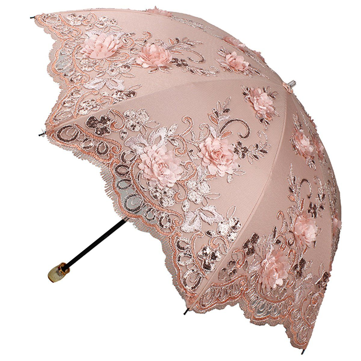 Sunny World Las Uv Protected Parasol Two Folding Anti Sun Umbrella Fashion Lace Embroidery Flowers Pink