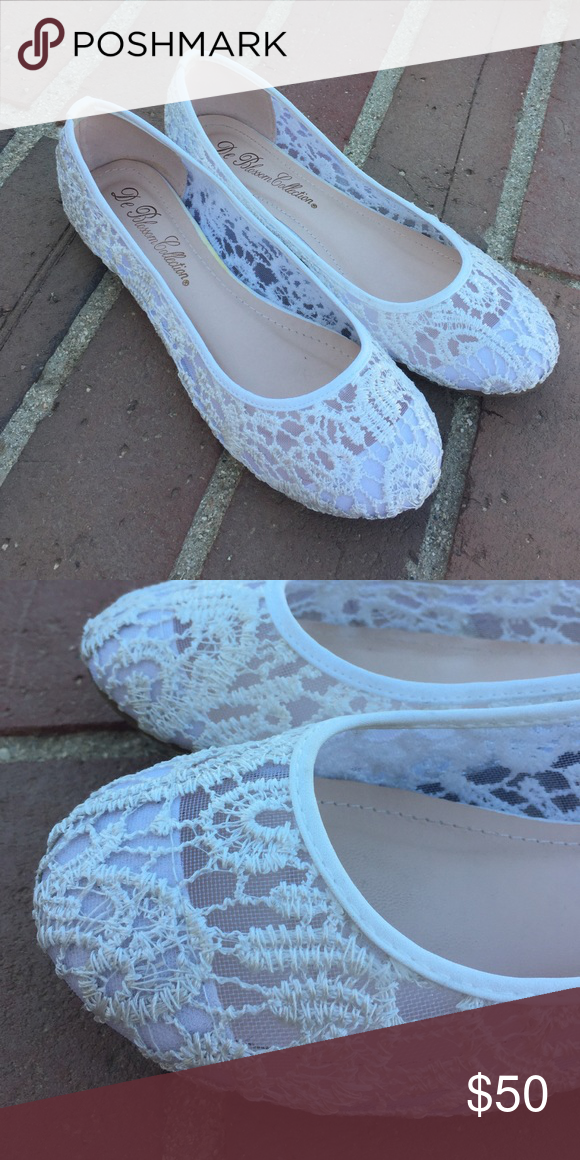 0426d13618b White laced crochet ballet slipper flats Purchased at David s Bridal and  they are used but show very little signs of wear  -) De Blossom Collection  Shoes ...