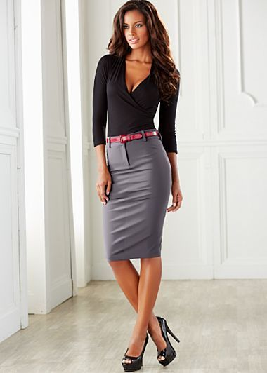 Black Skirt HeelsOoops Gray Pencil And High Blouse thrdsQ