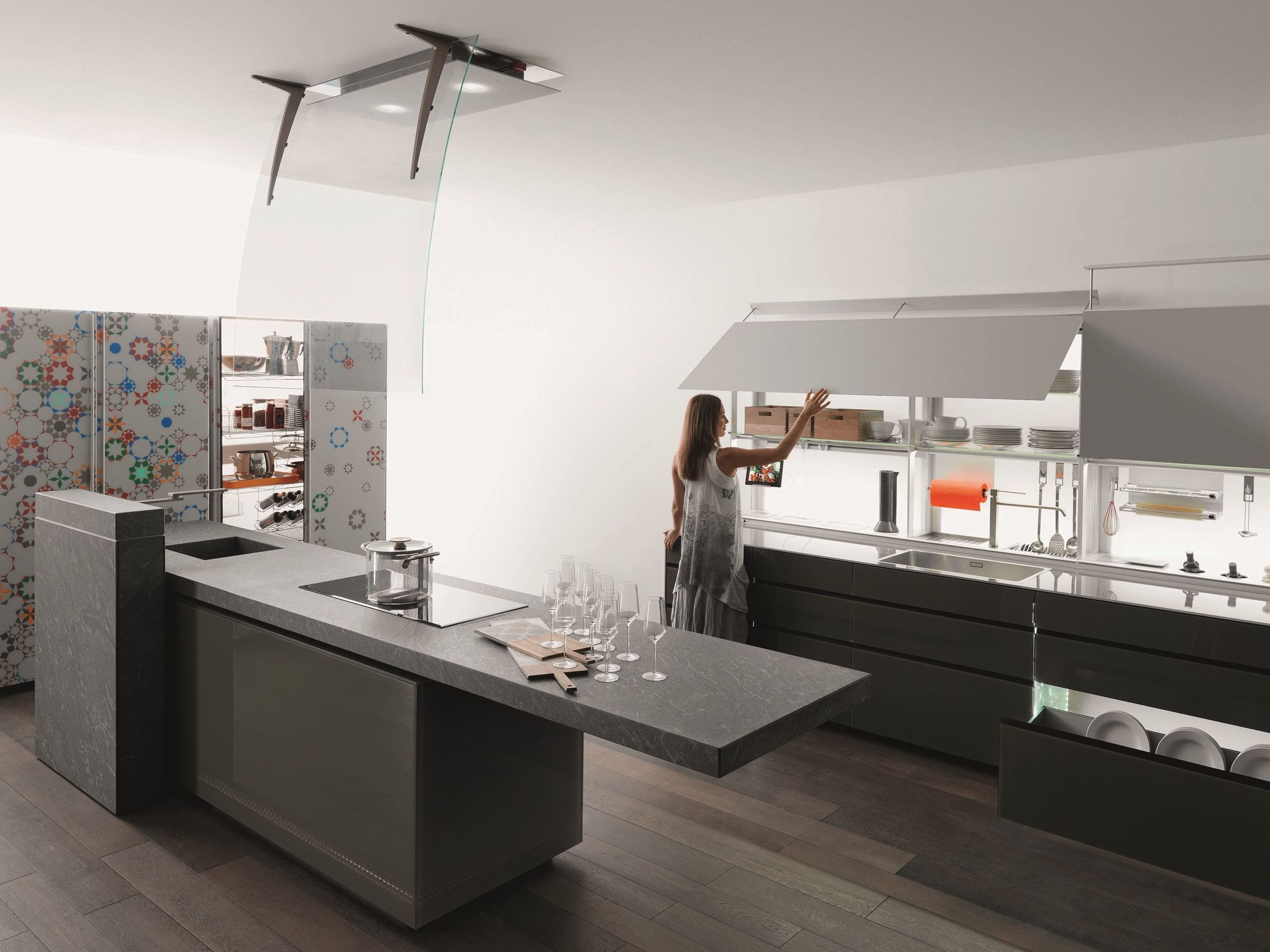 Fitted Kitchen With Island New Logica System Artematica Vitrum By