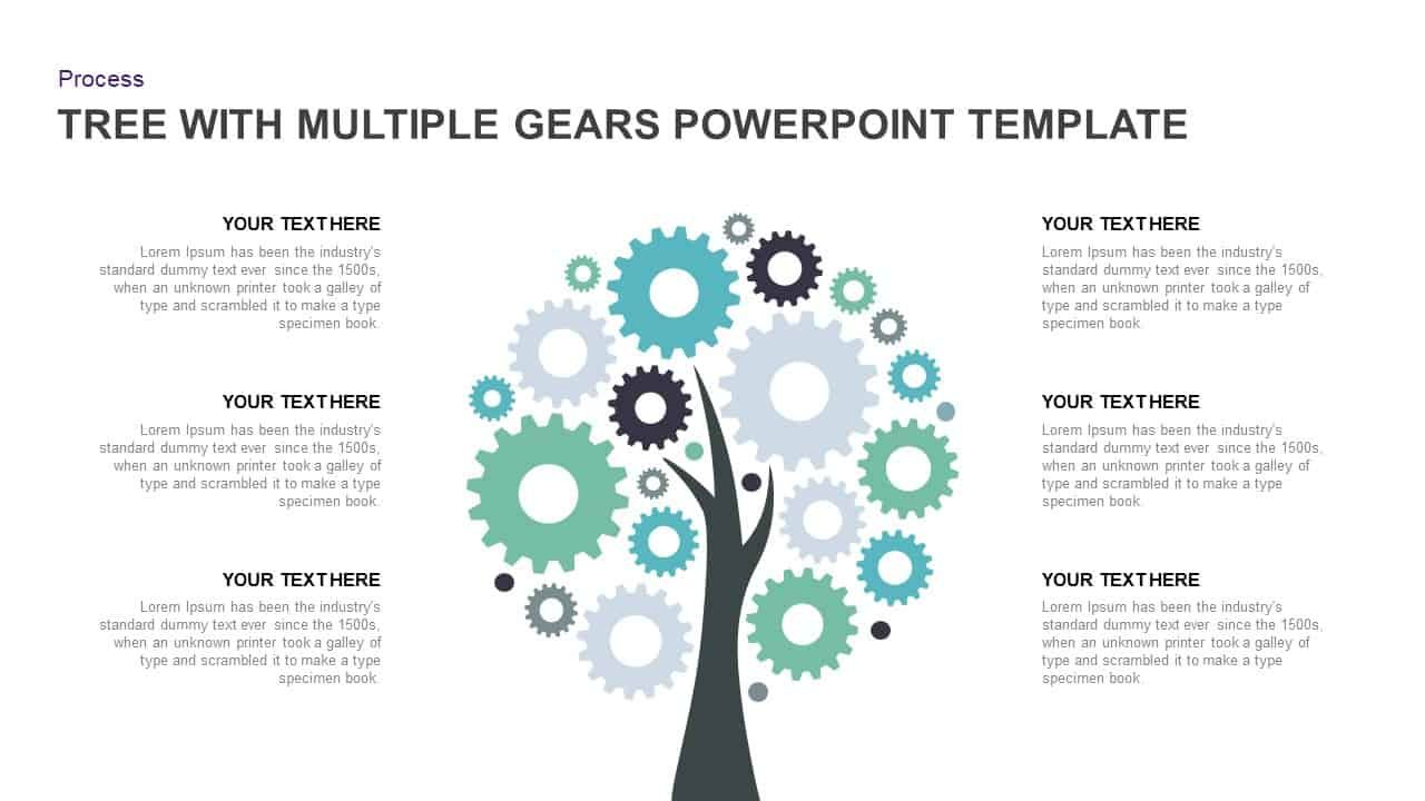 Tree Diagram Powerpoint Template With Multiple Gears Tree With Gears Powerpoint Template Is V Powerpoint Powerpoint Templates Powerpoint Presentation Templates
