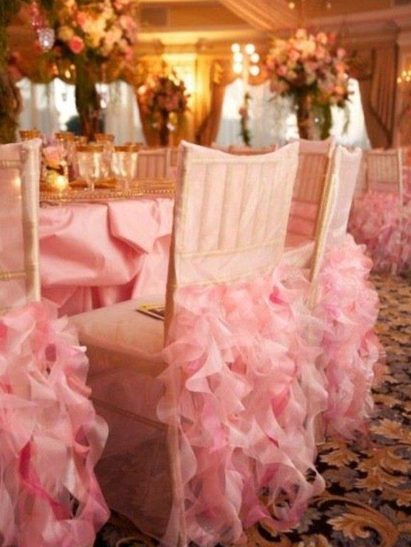 Pink Ruffles Wedding Chair Covers By Wildflower Linen