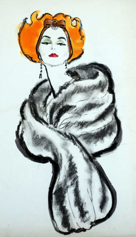 By Robert Yemne, 1 9 5 0s, Red-haired woman in fur stole.