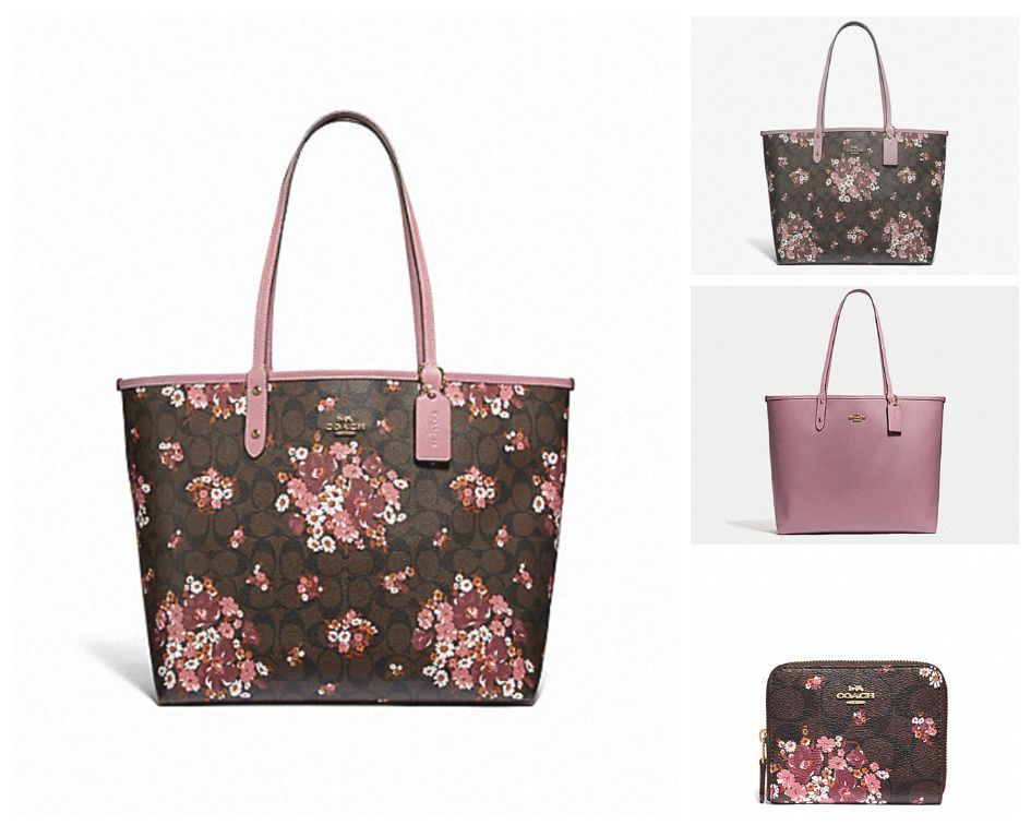 fc3ae5cc2e45 SET Coach Reversible City Tote MEDLEY BOUQUET PRINT & Small Zip-Around MSRP  $525 | eBay