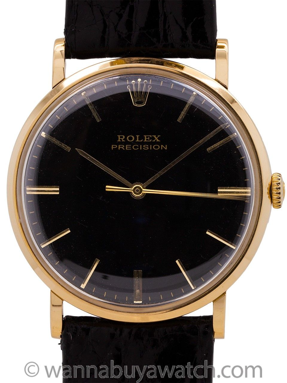 daa4ec59e547f Rolex Precision Dress Model 18K YG circa 1950 - Rolex Dress model 18K YG  circa 1950 s. Featuring 34 X 39mm snap back case with smooth bezel and low  dome ...