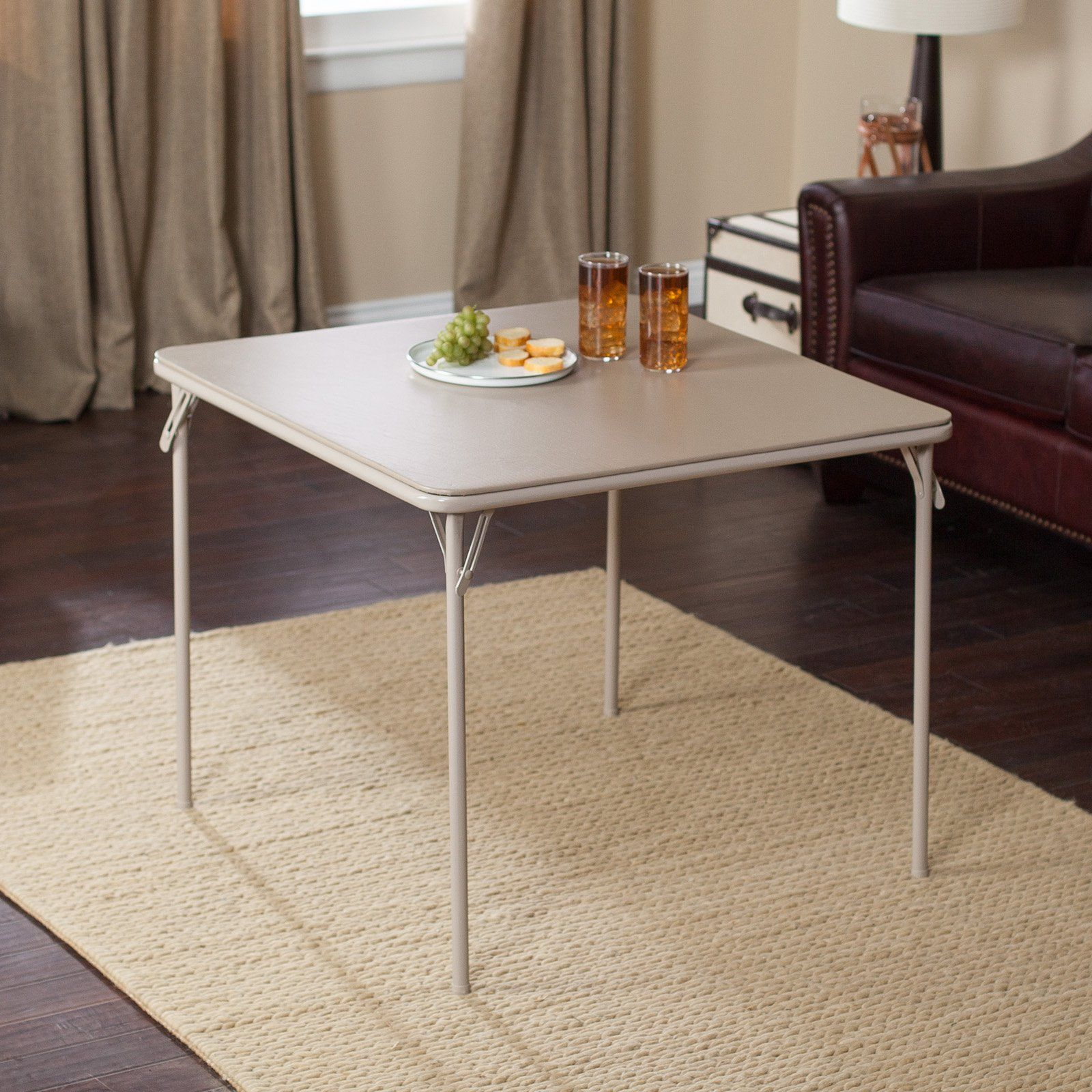 Meco 34 In Square Vinyl Folding Card Table Metal Dining Table Card Table Set Folding Table