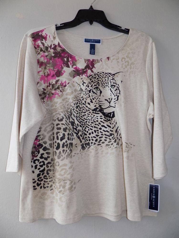 NEW Karen Scott 2X Women's Rhinestone Floral/ Leopard print sweater 3/4 nwt #KarenScott #KnitTop