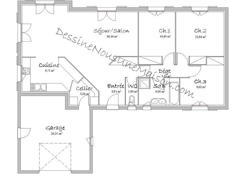 Plan Maison En L Plain Pied Gratuit  Plan Maison