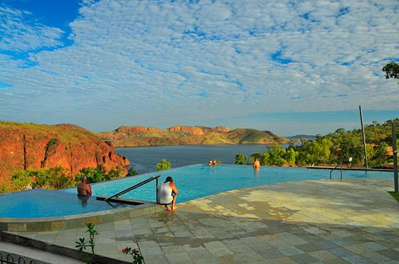 The Infinity Pool at Lake Argyle not only has a stunning view but is open to hotel AND caravan park guest so the experience is affordable!