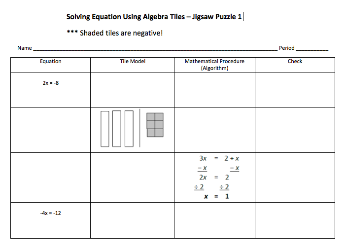 CC 8 today has their first exposure to Algebra tiles It went – Algebra Tiles Worksheets