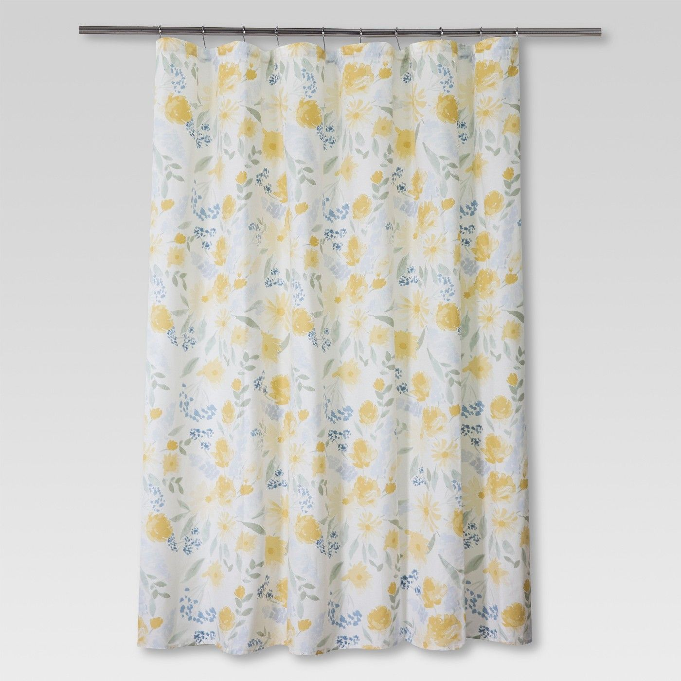 floral shower curtain yellow blue