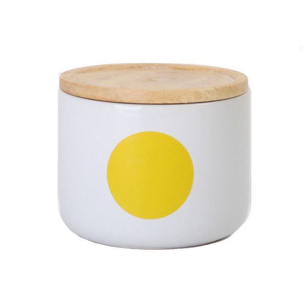 Handy small yellow dots canister by General Eclectic. With a sealed wooden lid perfect for storing tea, coffee, food and/or miscellaneous materials round the house.   Canister measurementsHeight 8.5cm Width 10cm